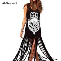 Лето 2017 г. платье Для женщин Хамса рук в стиле панк-рок с кисточками платье без рукавов чешские тонкий длинное платье Beach Club Vestidos Украина