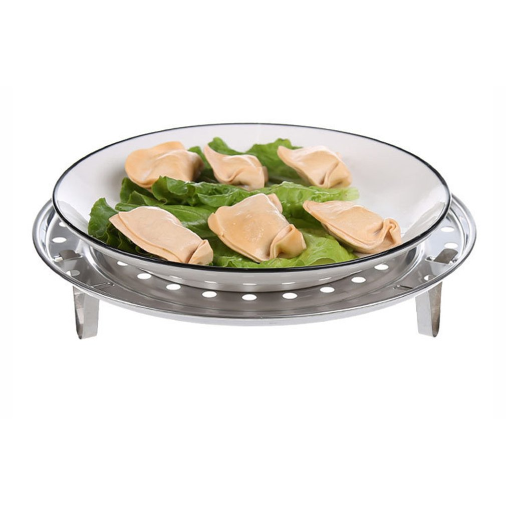 Multifunctional Home Kitchen Round Shape Stainless Steel Steamer Rack Insert Stock Pot Steaming Tray Stand Cookware Tool