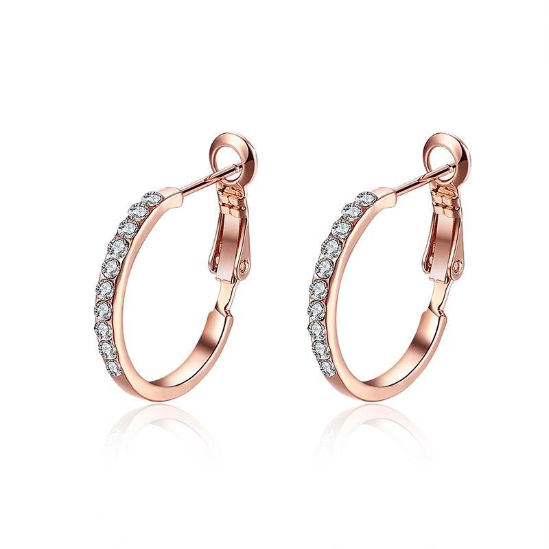 2 Colors Sparkling Rhinestone Hoop Earrings For Women Cute ...