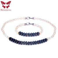 White Black Natural Freshwater Pearl Necklace Fashion Jewelry Women Bracelet Necklace Gold Zircon Accessories Wedding Party
