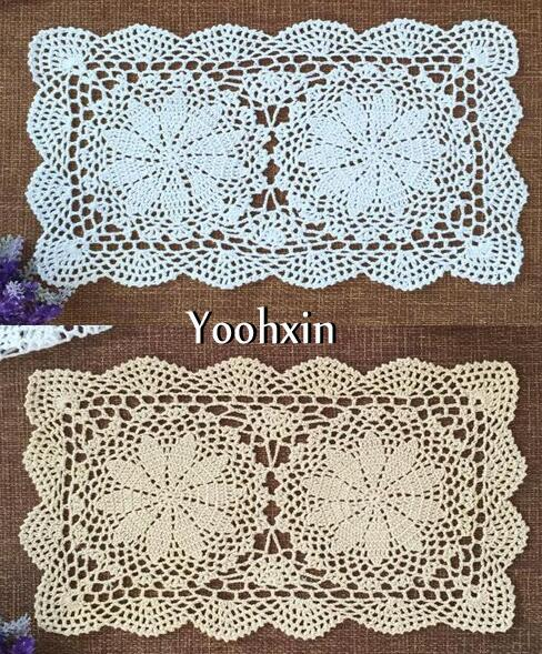 Modern White Cotton Crochet Tablecloth Tea Coffee Lace Christmas Rectangle Table Cover Cloth Dining Kitchen Xmas Wedding Decor