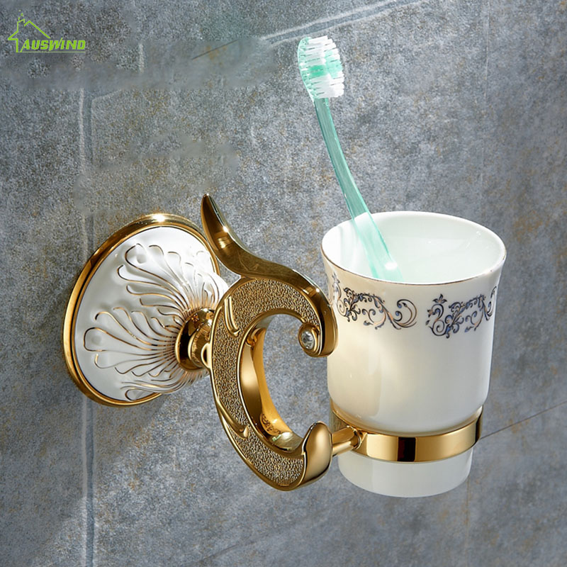 Luxury Bathroom Accessories Cup & Tumbler Holders European Bathroom Toothbrush Holder Antique Double Ceramic Cups Wall Mount cup & tumbler holders glass cup brass antique toothbrush cup holder set luxury bathroom accessories wall tumbler holders 10703f