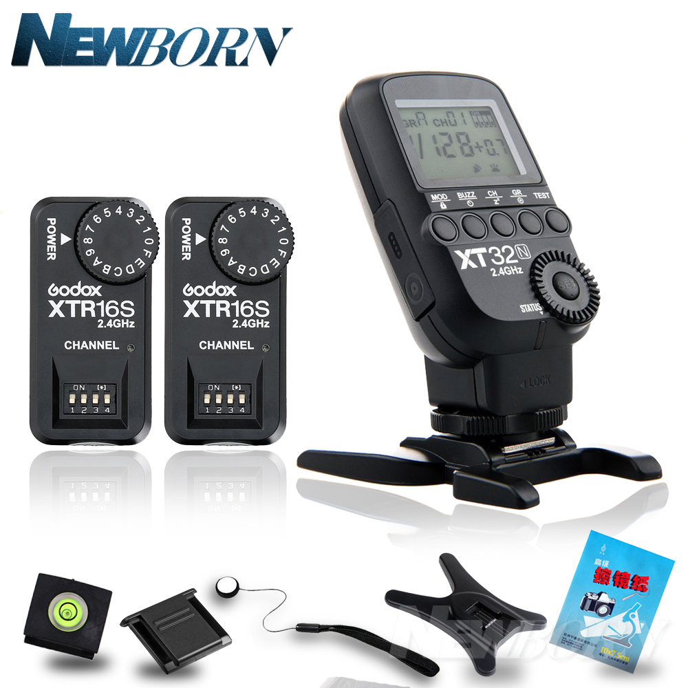 купить Godox XT32N 2.4G Wireless 1/8000s HSS Flash Trigger + 2X XTR-16S for Nikon /GODOX V850/V860/V850II/V860C V860N V860 II Flash по цене 3552.19 рублей