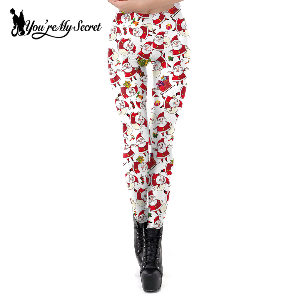 [You're My Secret] Marry Christmas   Leggings   Women Workout Autumn Fitness 3D Digital Print Xmas Leggins Women Santa Claus Pants