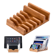 цена на Wooden mobile phone holder bamboo charging base Mobile phone flat storage holder for tablet