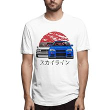 2018 New Arrival GTR Car T-shirt Mens Skyline R34 Hakosuka T Shirt Summer Stylish Custom Cotton Tee Camiseta