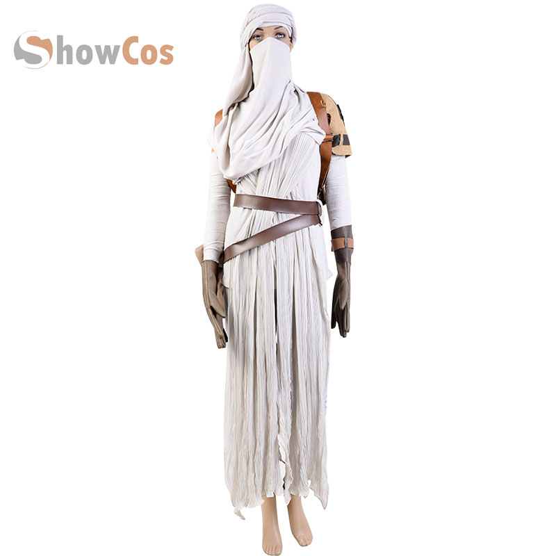 Moive Star Wars 7: The Force Awakens Rey Cosplay Costume Full Set For Adult Women Cosplay Full Set Custom Made
