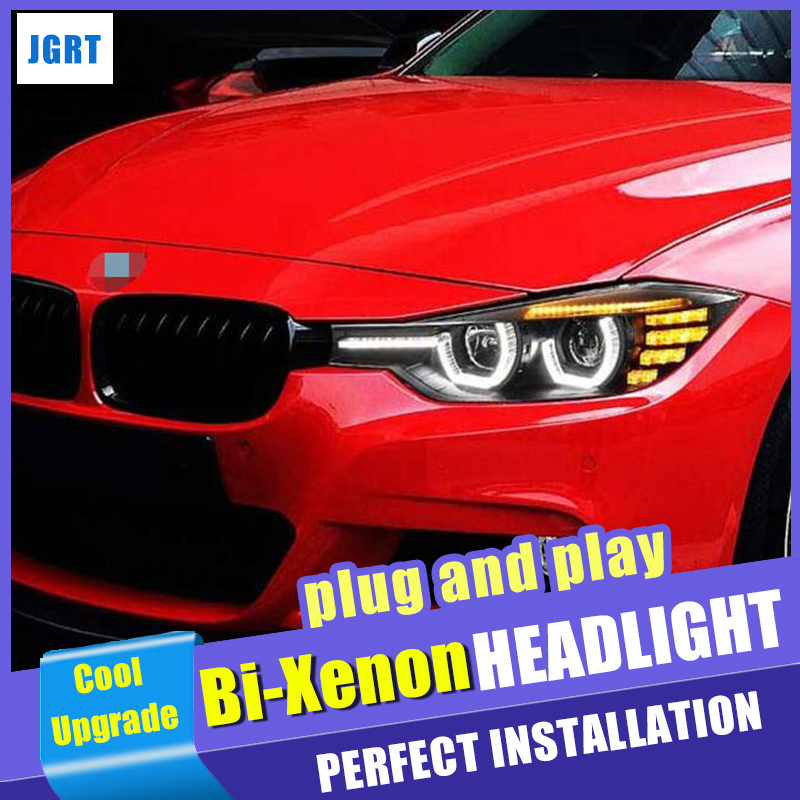 Car Styling XENON Head Lamp for <font><b>BMW</b></font> 3 SERIES <font><b>F30</b></font> <font><b>Headlights</b></font> <font><b>LED</b></font> Head lamp angel eye <font><b>headlight</b></font> BI XENON front accesspories image