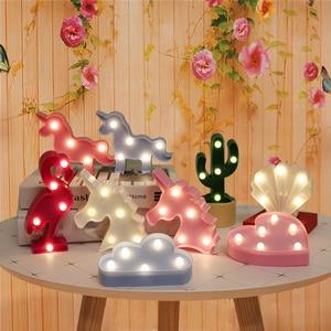 Image 1 - Cartoon Night Lights Unicorn/Flamingo/Cactus/Pineapple/Cloud/Star/Shell/Heart LED Table Lamp For Childrens Bedroom Decoration
