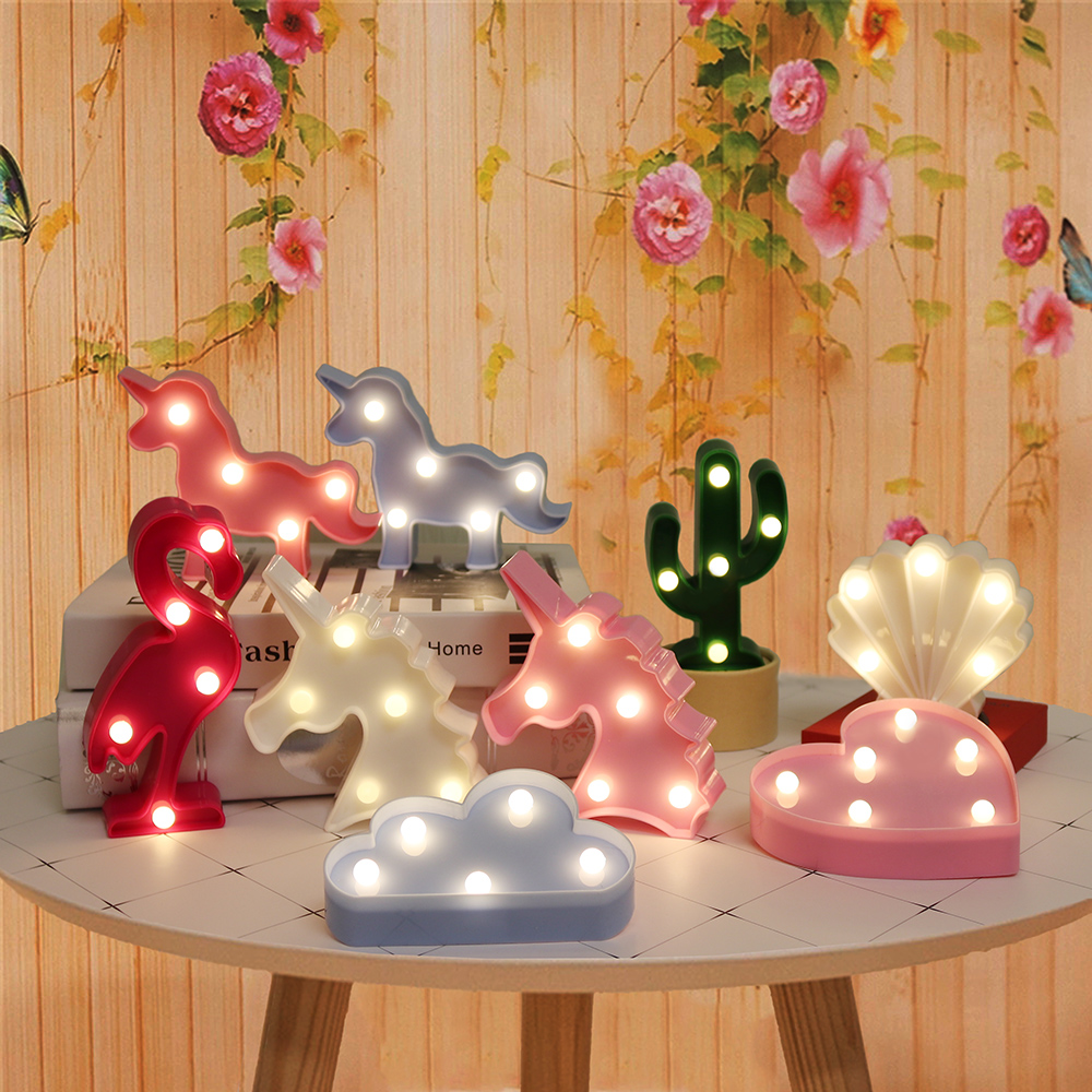 Luces de noche de dibujos animados unicornio/flamenco/Cactus/piña/nube/estrella/concha/lámpara de mesa LED de corazón para decoración de dormitorio infantil