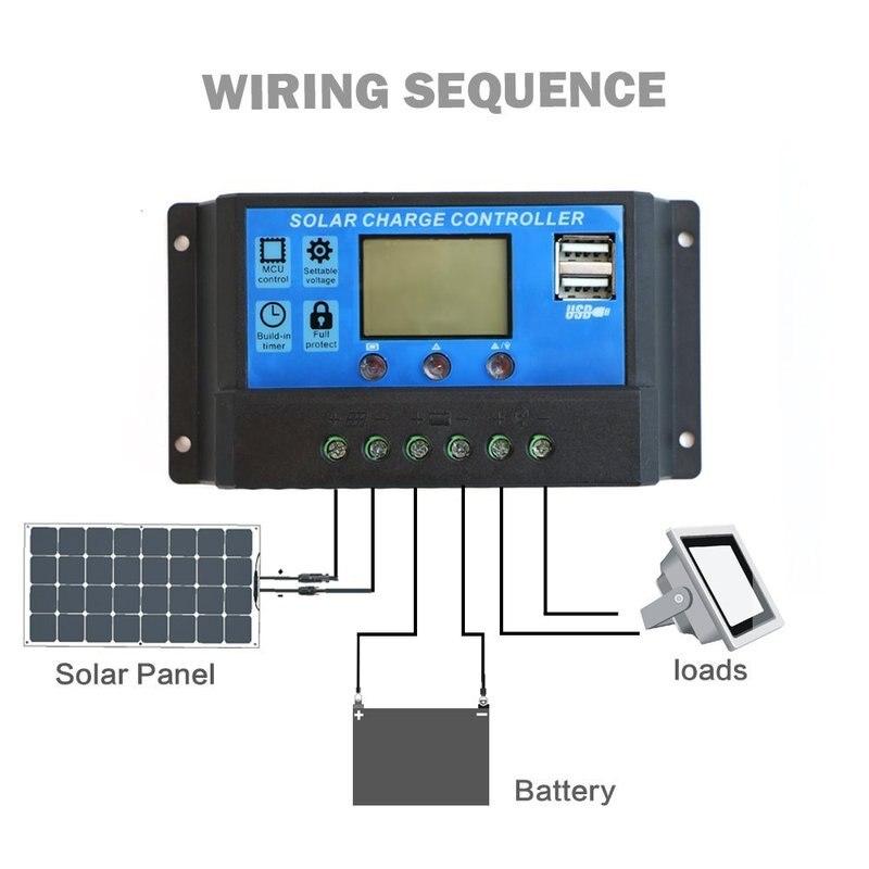 60A/50A/40A/30A/20A/10A ШИМ 10/20/30a двойной USB регулятор заряда батареи 12/24В LCD Q17 Прямая поставка