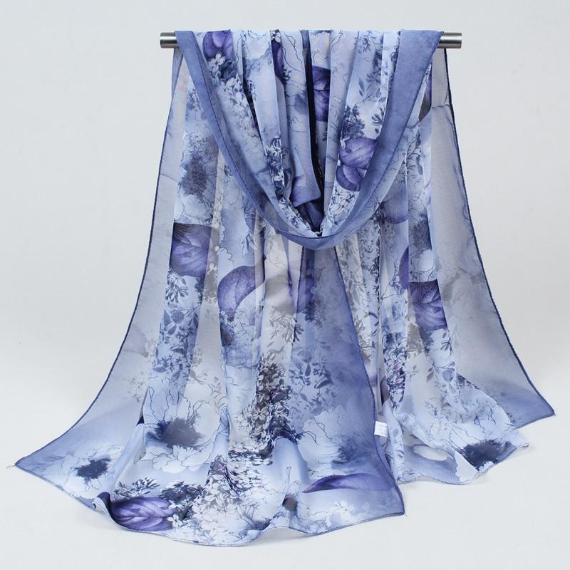 2019 New Women Chiffon Silk Scarfs Fashion Spring Square Polyester Scarves Print Flowers Shawl Summer Shawls And Hijabs 052