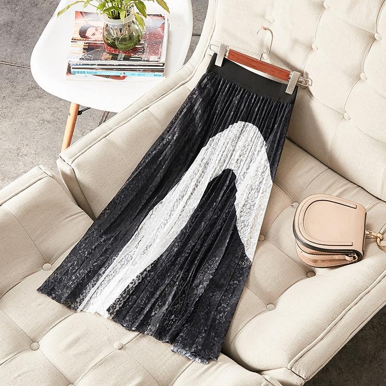 Mujer Verano A065 Encaje Chic Negro Patchwork Blanco De Elegante Faldas afdWpnqfr