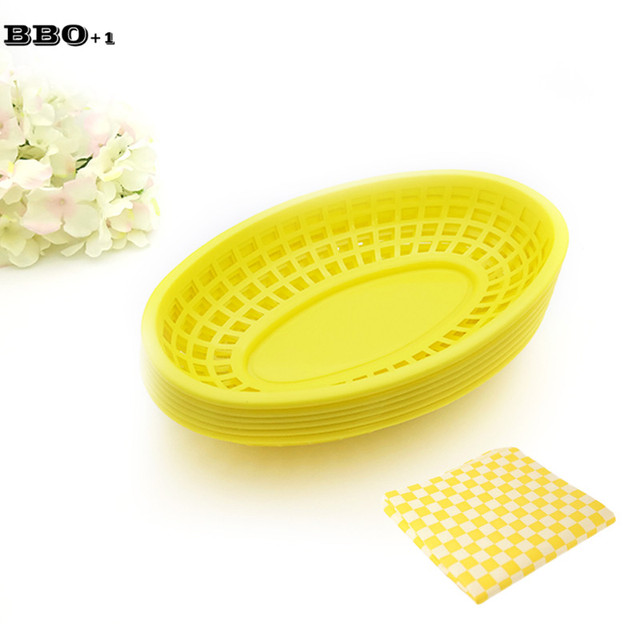 6pcs 9.5in Oval Plastic Serving Platter set French Fry Basket and 24pcs Wax Paper Fast  sc 1 st  AliExpress.com & 6pcs 9.5in Oval Plastic Serving Platter set French Fry Basket and ...