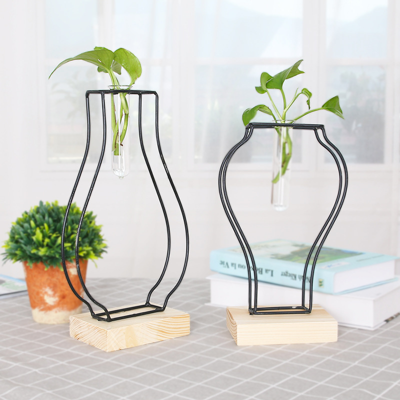 Creative Minimalist Small Vase Green Fresh Water Plant Glass Bottle Wrought Iron Vase Flower Container Living Room Decoration