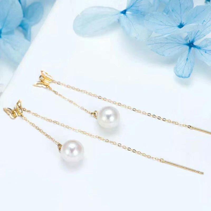 Shilovem 18 k jaune perles d'eau douce naturelles boucles d'oreilles fines bijoux femmes à la mode anniversaire cadeau de noël nouveau myme9-10zz