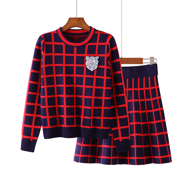 Two Piece Sweater Sets Female Spring Vintage A Line Skirt Suits Loose Plaid Kint Suits Pullover 2 Pcs Suit England Skirt Sets
