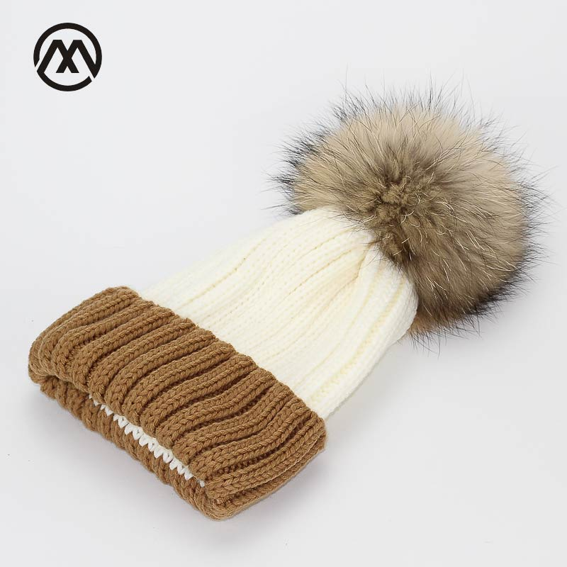 Splice Natural real fur raccoon fur pompon Winter women warm knit hat cap crochet skullies beanie with big ball solid thick cap children girl natural pompon knit hat cap winter warm crochet beanie with fur pom poms ball kids
