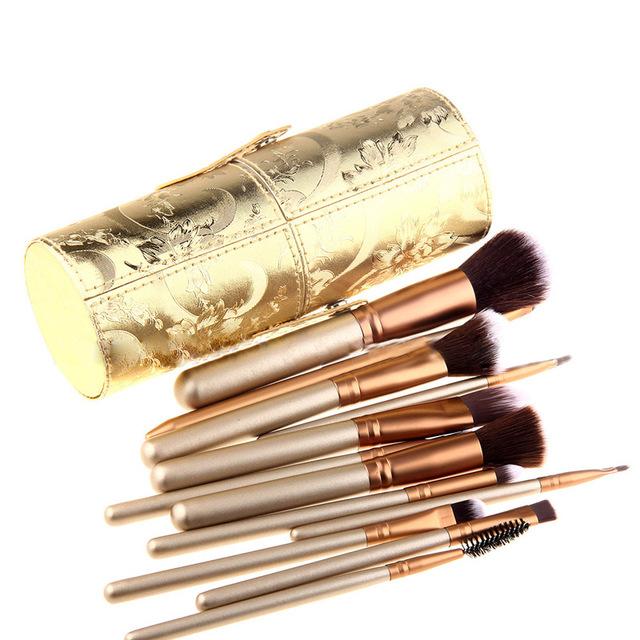 12 pçs/set maquiagem jogo de escova multiuso pincel de maquiagem fundação face powder blush brush eyeshadow kits com caixa redonda tube
