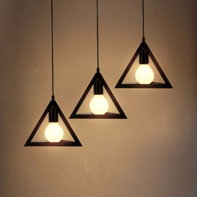 Modern Triangle Pendant Lights Hanging E27 Bulb Night L& Fixture Loft Bar Living Room Home Decor & Modern Triangle Pendant Lights Hanging E27 Bulb Night Lamp Fixture ...