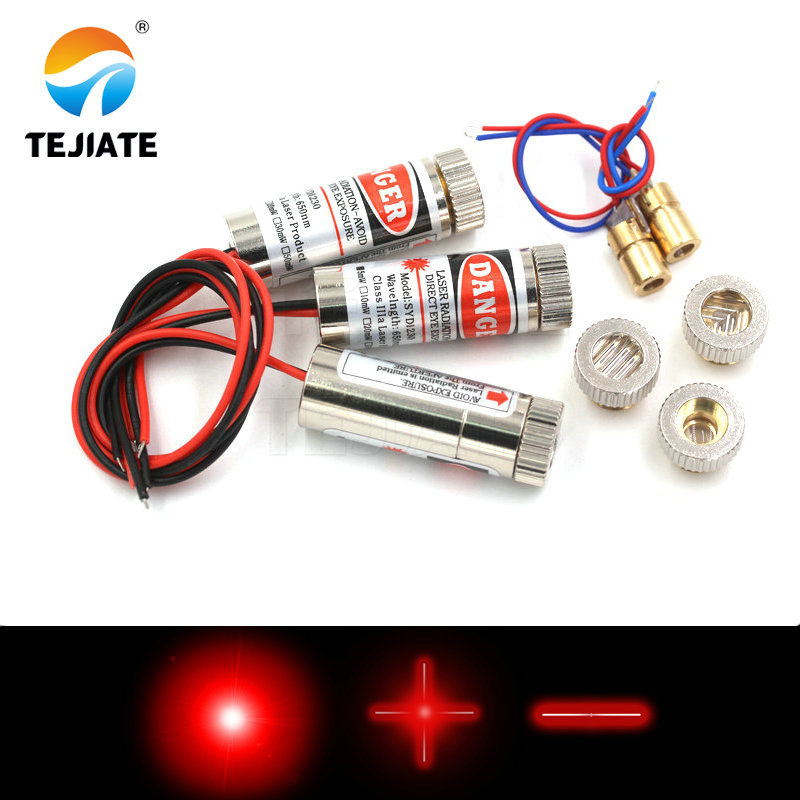 Láser diodo cabezal láser 5mW 650nm red dot/line/cross láser tubo infrarrojo láser sensor módulo ajustable longitud focal 3 V/5 V Cree XML2 XM-L2 T6 10W emisor LED de alta potencia diodo blanco frío 16/20mm PCB + 17mm/22mm DC3.7V 12V controlador