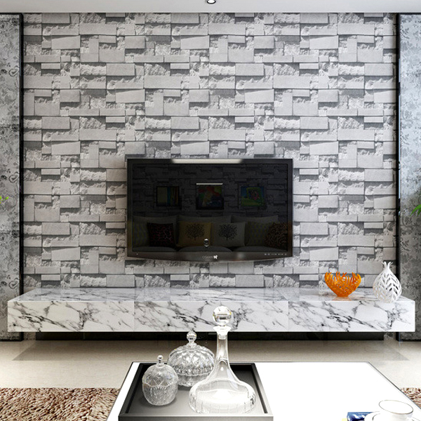 Ziegel Tapete Wohnzimmer : 3D Brick Wallpaper Living Room