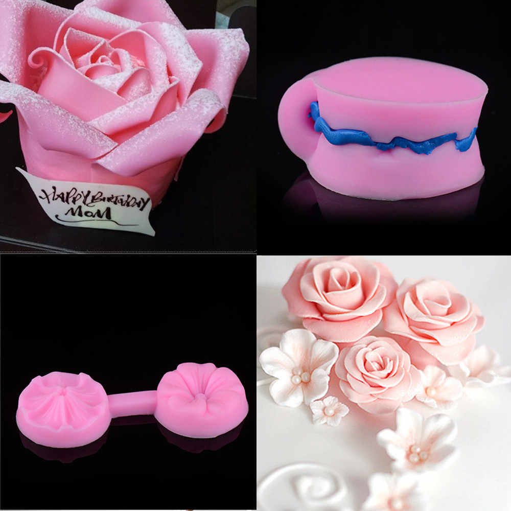 3D Rose Flower Shape Silicone Mold Fondant Chocolate Soap Moulds Candy Cake Molds Embossed Sugar Arts Flower DIY Wedding Decor#F