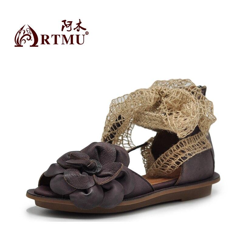 Artmu Fashion Women Sandals Shoes Flats Slides Handmade Big Flower Shoes Woman Zipper Lace Up Open