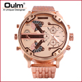 heavy alloy suit men watch quartz PC21S movt big dial dual time zone Oulm brand factory direct sell