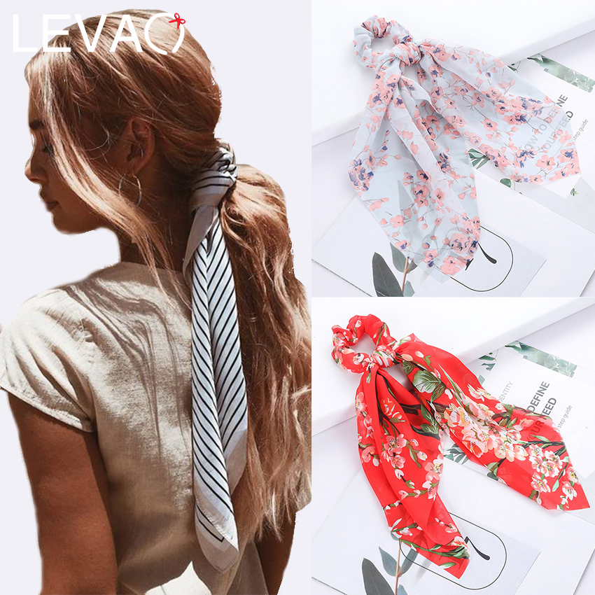 Levao 45*45cm Stripe Flower Print Hair Bow Ties Scrunchies For Women Ponytail Scarf Hair Bands Elastic Hair Rope Accessories