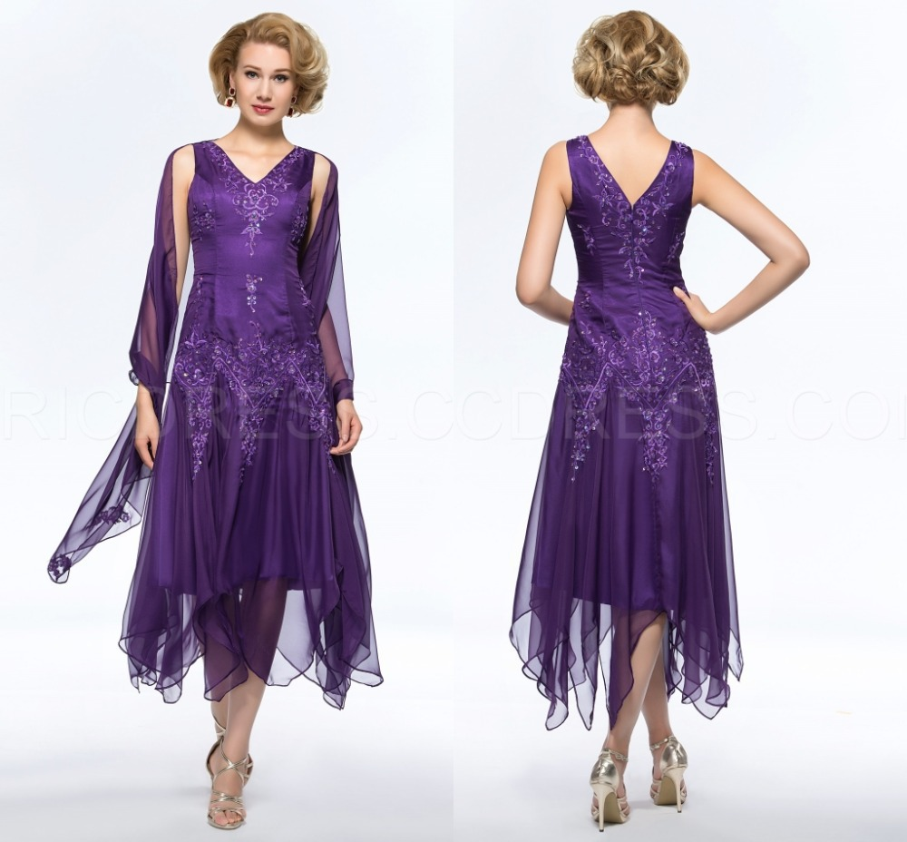 Plus Size Mother of Groom Dresses Tea Length