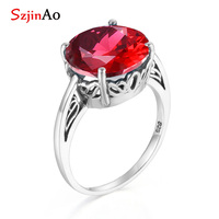 Szjinao 14ct Ruby rings bridal set flower vine hollow shape birthstone 925 sterling silver for women accessories Indian jewelry
