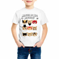 Super hero Cat Print Children's t shirt Cartoon Captain America/Iron Man/Spiderman Cat Casual Funny Tshirt Boy Girl Top Tee Y7-4
