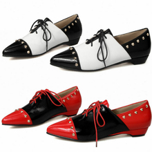 2019 Rivets Wedding Oxfords Women Patent Leather Mary Janes Shoes Low Heel Evening Party Pumps Pointed Toe Boots Casual Shoes 2017 mary janes women pumps fashion patent leather slip on casual women shoes spring autumn flower toe part square heel med heel