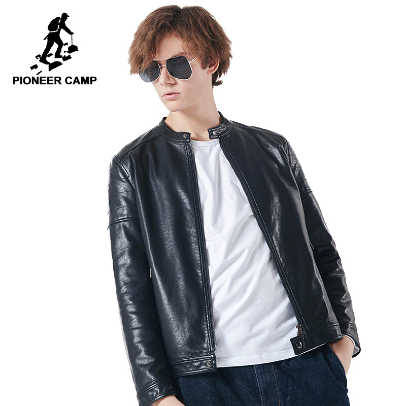 Pioneer camp new leather jacket men brand clothing autumn winter stand collar Motorcycle leather coat male quality AJK801448