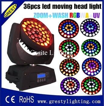 2 piezas/lote DMX 512 36*18 W RGBWAUV 6 IN1 LED zoom mover la cabeza de luz 36 piezas x 18 W zoom LED cabeza móvil Luz de lavado RGBWAY LED en movimiento