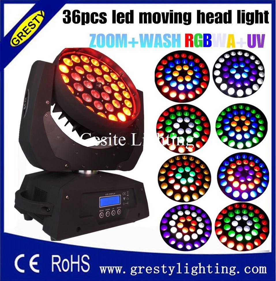 2Pcs / Lot DMX 512 36 * 18W RGBWAUV 6 IN1 Zoom LED Bergerak Kepala Cahaya, 36pcs x 18W zoom LED kepala bergerak kepala basuh RGBWAY bergerak LED
