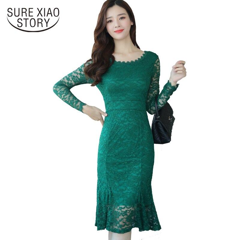 2017 new ladies package hip dress elegant temperament long-sleeved lace women dress Slim sexy women fishtail dress D118 30