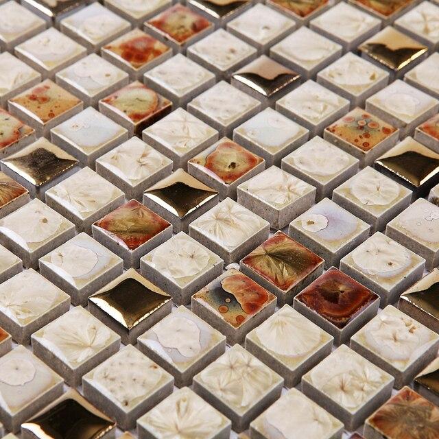 Badezimmer fliesen mosaik bunt  Aliexpress.com : Braun weiß ofen poliert porzellan fliesen mosaik ...