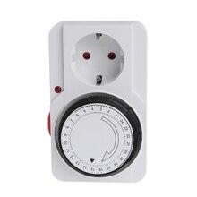 цена на 24 Hours Programmable Mechanical Timer Switch Smart Countdown Switch Timer Plug Socket 230V EU Plug