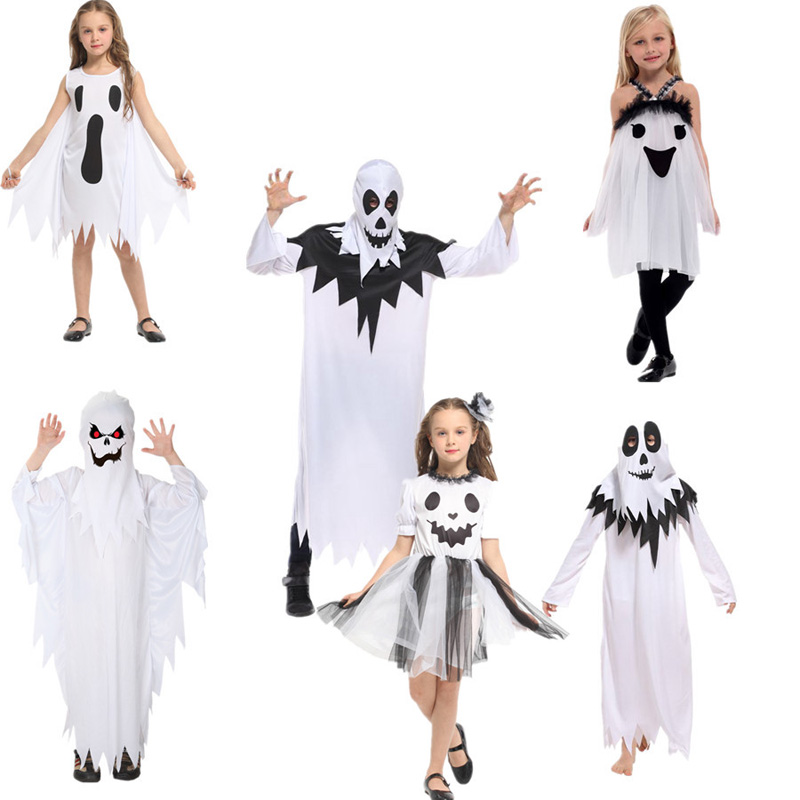 Halloween Cosplay Sary Costumes White Ghost Costume Tattered Specter Gown Mask Girl Boy Fancy Dress for Adult Children