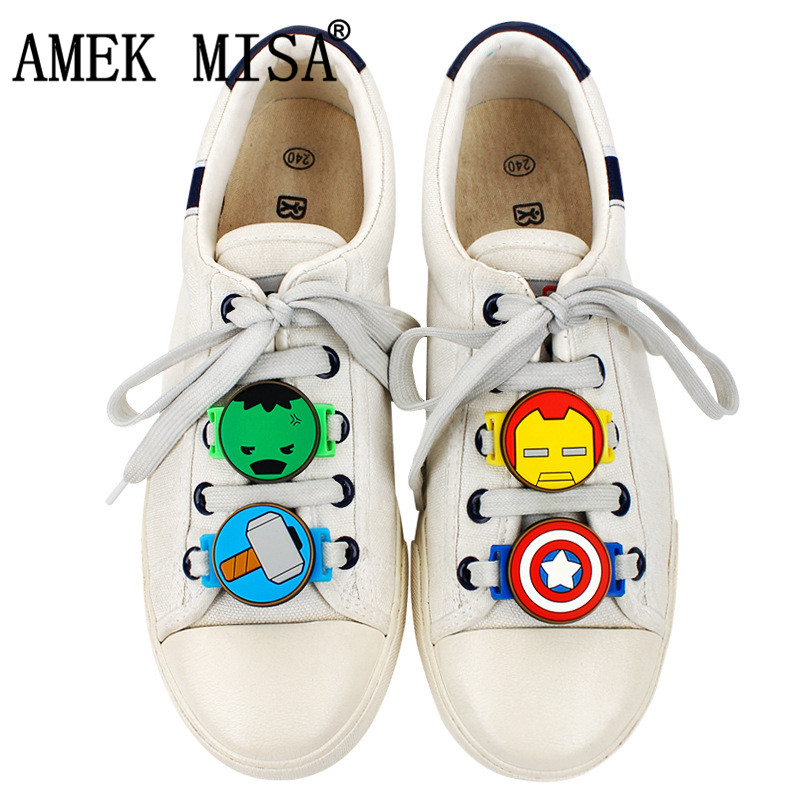 5 Pcs A Set Shoe Decorations PVC Cartoon Models Avengers Casual Shoes Accessories Novelty Sports Shoes Shoelace Charms Gift M438