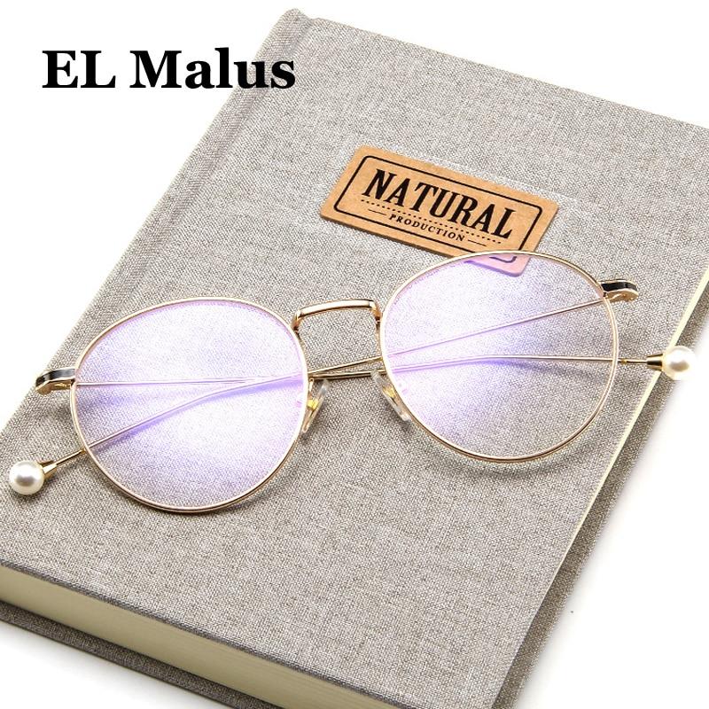 [EL Malus]Imitation Pearl Oval Eyeglasses Frame Women Clear Lens Glasses Metal Black Gold Silver Shades Brand Designer