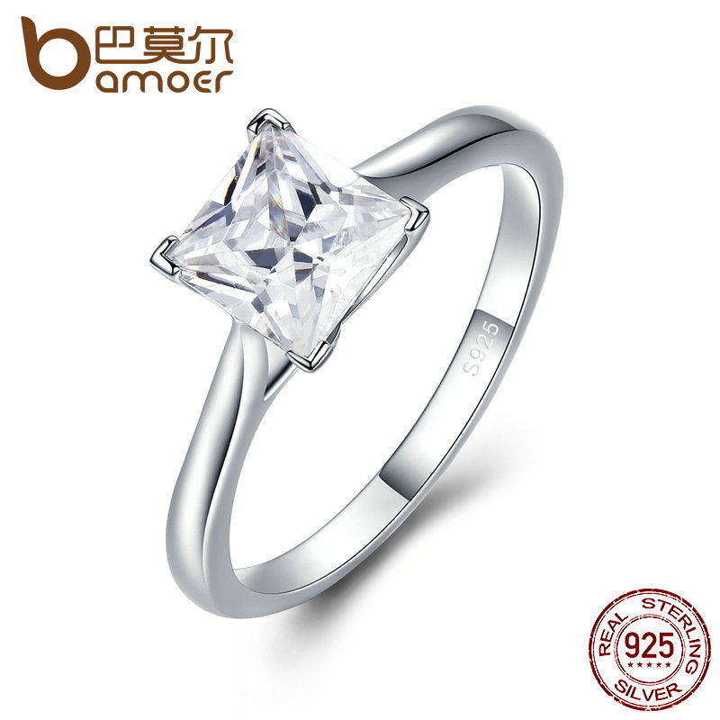 BAMOER genuino 925 de plata de alta calidad princesa corte anillos para las mujeres, Zircon claro anillo de compromiso SCR044
