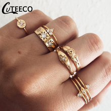 CUTEECO 8 Pcs/set Bohemian Gold Color Rings Set for Women Geometric Alloy Knuckle Midi Rings Wedding Party Jewelry rhinestone alloy triangle jewelry set rings