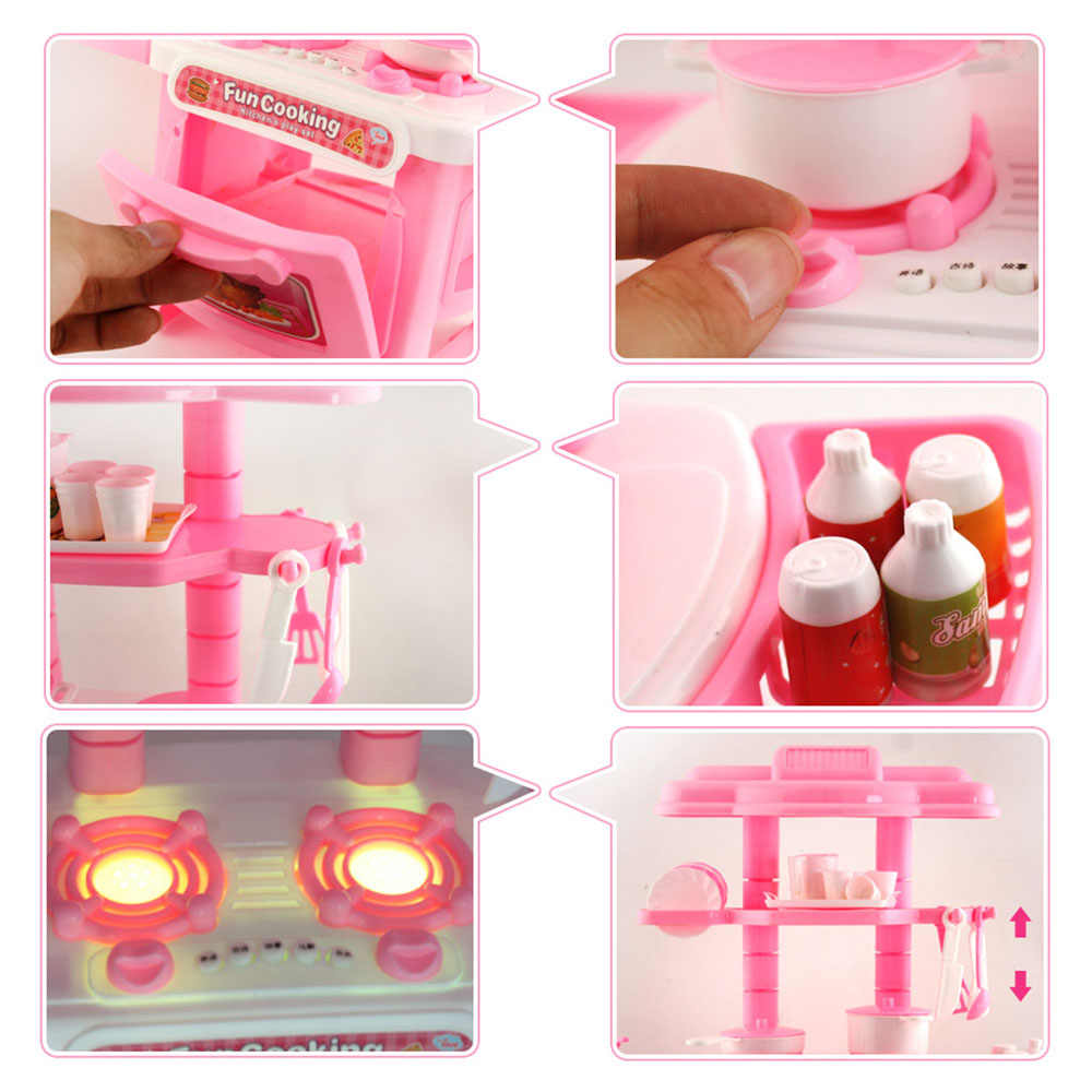1 Set Children\'s Play House Toys Girl Cutlery Set Baby Toys Kitchen Cooking  Simulation Pretend To Play Kitchen Model