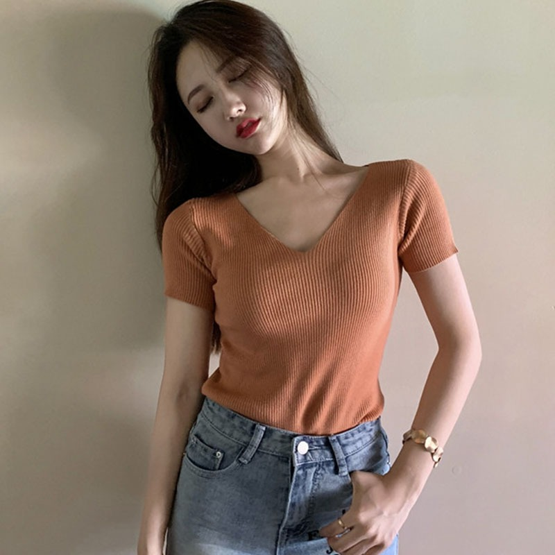 Summer Knitted Short Sleeved T-shirt Chic V-neck/O-neck Solid Color Slim Tee Shirt Korean Version Harajuku Tshirt Women