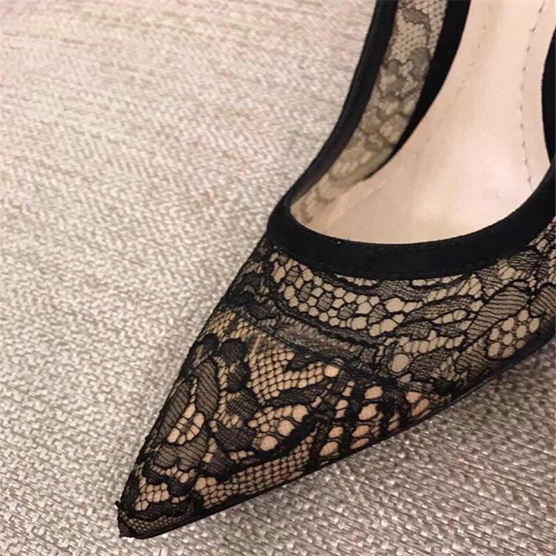 Tacones Sexy Diseñador Tenis Malla Encaje Negro Heels Bombas 7cm Heels Sandalias Tacón Estilo Mujeres Punta De Mujer Altos 10cm Zapatos RtvZwxRq7