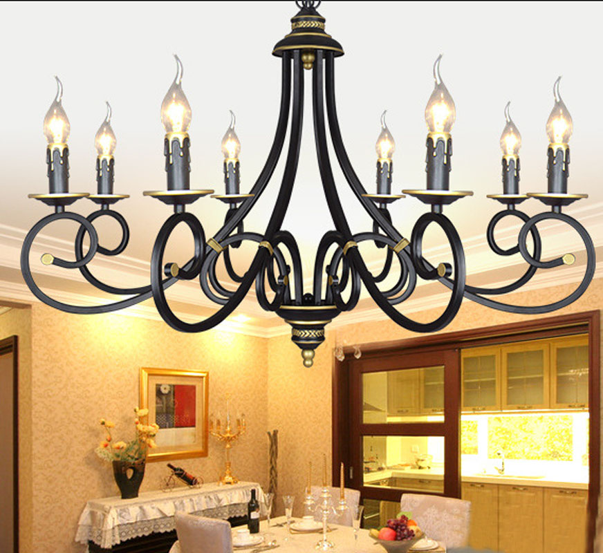 european black wrought iron candle chandelier lighting 3568 heads e14 black chandelier lighting photo 5