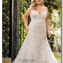Yabreny Plus Size Spaghetti Sheath Wedding dress Train Sand